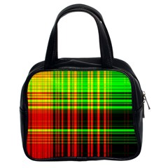 Line Light Neon Red Green Classic Handbags (2 Sides) by Mariart