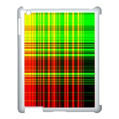 Line Light Neon Red Green Apple Ipad 3/4 Case (white) by Mariart