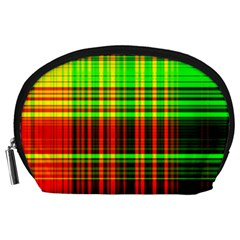Line Light Neon Red Green Accessory Pouches (large)  by Mariart