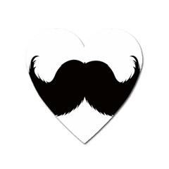 Mustache Owl Hair Black Man Heart Magnet by Mariart