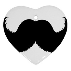 Mustache Owl Hair Black Man Heart Ornament (two Sides) by Mariart