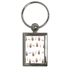 Insulated Owl Tie Bow Scattered Bird Key Chains (rectangle)  by Mariart