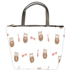 Insulated Owl Tie Bow Scattered Bird Bucket Bags by Mariart