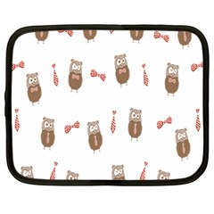 Insulated Owl Tie Bow Scattered Bird Netbook Case (xxl)  by Mariart