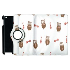 Insulated Owl Tie Bow Scattered Bird Apple Ipad 3/4 Flip 360 Case by Mariart