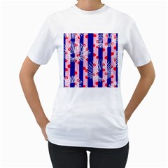 Line Vertical Polka Dots Circle Flower Blue Pink White Women s T Shirt (white) (two Sided) by Mariart