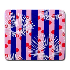 Line Vertical Polka Dots Circle Flower Blue Pink White Large Mousepads by Mariart