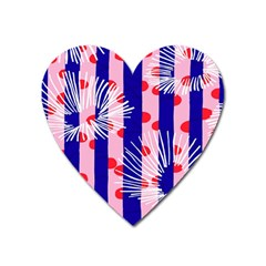 Line Vertical Polka Dots Circle Flower Blue Pink White Heart Magnet by Mariart