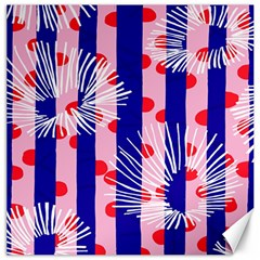 Line Vertical Polka Dots Circle Flower Blue Pink White Canvas 16  X 16   by Mariart