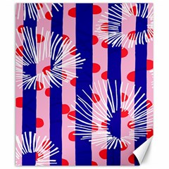 Line Vertical Polka Dots Circle Flower Blue Pink White Canvas 20  X 24   by Mariart