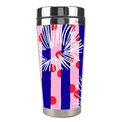 Line Vertical Polka Dots Circle Flower Blue Pink White Stainless Steel Travel Tumblers by Mariart