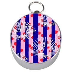 Line Vertical Polka Dots Circle Flower Blue Pink White Silver Compasses by Mariart