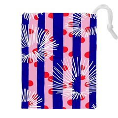 Line Vertical Polka Dots Circle Flower Blue Pink White Drawstring Pouches (xxl) by Mariart