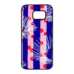 Line Vertical Polka Dots Circle Flower Blue Pink White Samsung Galaxy S7 Edge Black Seamless Case by Mariart