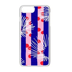 Line Vertical Polka Dots Circle Flower Blue Pink White Apple Iphone 7 Plus White Seamless Case