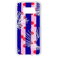 Line Vertical Polka Dots Circle Flower Blue Pink White Samsung Galaxy S8 White Seamless Case by Mariart