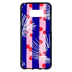 Line Vertical Polka Dots Circle Flower Blue Pink White Samsung Galaxy S8 Plus Black Seamless Case by Mariart
