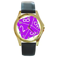Number Purple Round Gold Metal Watch by Mariart