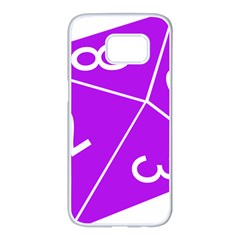Number Purple Samsung Galaxy S7 Edge White Seamless Case by Mariart