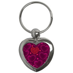 Love Heart Polka Dots Pink Key Chains (heart)  by Mariart
