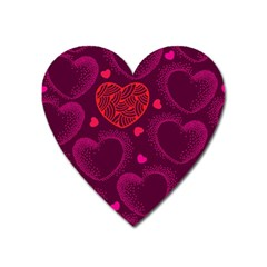 Love Heart Polka Dots Pink Heart Magnet by Mariart