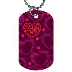 Love Heart Polka Dots Pink Dog Tag (two Sides) by Mariart