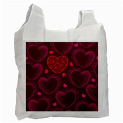 Love Heart Polka Dots Pink Recycle Bag (one Side) by Mariart