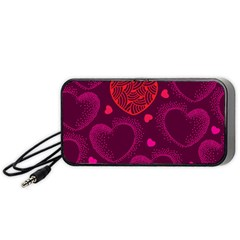 Love Heart Polka Dots Pink Portable Speaker (black) by Mariart