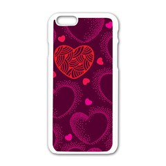 Love Heart Polka Dots Pink Apple Iphone 6/6s White Enamel Case by Mariart