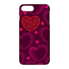 Love Heart Polka Dots Pink Apple Iphone 7 Plus Hardshell Case by Mariart