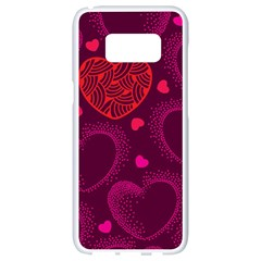 Love Heart Polka Dots Pink Samsung Galaxy S8 White Seamless Case by Mariart