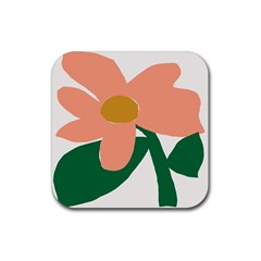 Peach Sunflower Flower Pink Green Rubber Square Coaster (4 Pack)  by Mariart