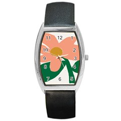 Peach Sunflower Flower Pink Green Barrel Style Metal Watch by Mariart
