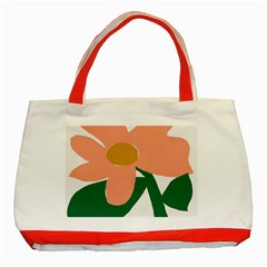 Peach Sunflower Flower Pink Green Classic Tote Bag (red) by Mariart