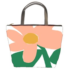 Peach Sunflower Flower Pink Green Bucket Bags by Mariart