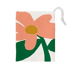Peach Sunflower Flower Pink Green Drawstring Pouches (large)  by Mariart