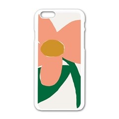 Peach Sunflower Flower Pink Green Apple Iphone 6/6s White Enamel Case by Mariart