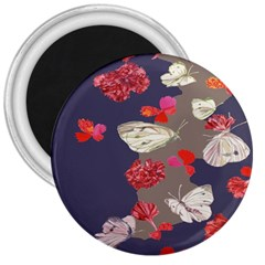 Original Butterfly Carnation 3  Magnets by Mariart
