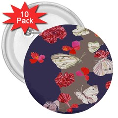 Original Butterfly Carnation 3  Buttons (10 Pack)  by Mariart