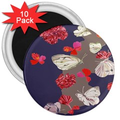 Original Butterfly Carnation 3  Magnets (10 Pack)  by Mariart