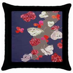 Original Butterfly Carnation Throw Pillow Case (black) by Mariart