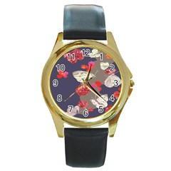 Original Butterfly Carnation Round Gold Metal Watch by Mariart