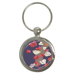 Original Butterfly Carnation Key Chains (round)  by Mariart