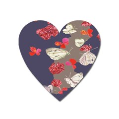 Original Butterfly Carnation Heart Magnet by Mariart