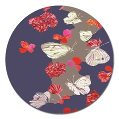 Original Butterfly Carnation Magnet 5  (round) by Mariart