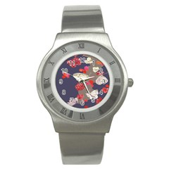 Original Butterfly Carnation Stainless Steel Watch by Mariart