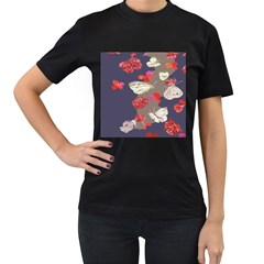 Original Butterfly Carnation Women s T Shirt (black) by Mariart