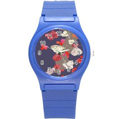 Original Butterfly Carnation Round Plastic Sport Watch (s) by Mariart