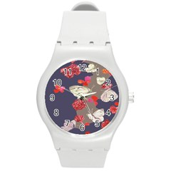 Original Butterfly Carnation Round Plastic Sport Watch (m) by Mariart