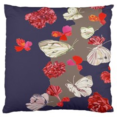 Original Butterfly Carnation Large Cushion Case (two Sides) by Mariart
